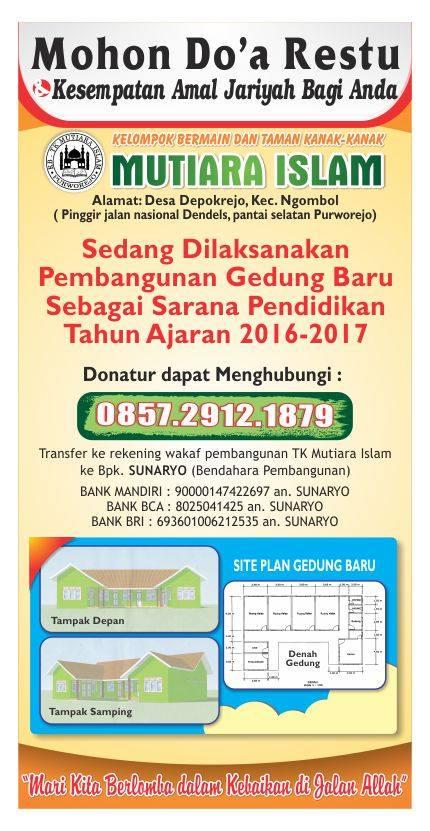 Donasi Pembangunan Gedung TK Mutiara Islam Purworejo